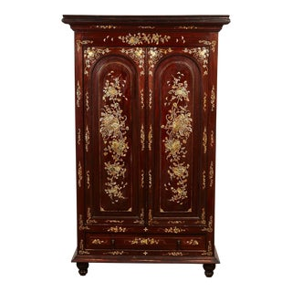 20th Century French Colonial Vietnamese Rosewood Cabinet with M.O.P Inlay