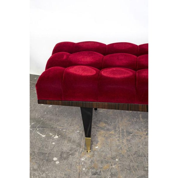 Vin de Lie Velvet Ebonized Bench - Image 3 of 4