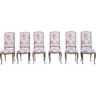 Vintage French Walnut Dining Chairs - Set of 6