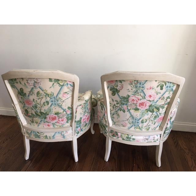 Shabby Chic Floral Bergere Chairs - A Pair - Image 7 of 11