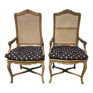 Queen Anne-Style Caned Armchairs - A Pair