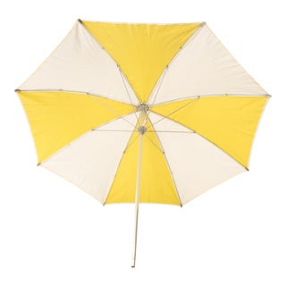 Mid Century Modern Yellow & White Vinyl Beach Umbrella