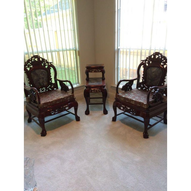 Chinese Carved Solid Rosewood Marble Back Armchairs - a Pair - Image 3 of 9