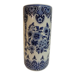 Vintage Blue & White Hand Painted Umbrella Stand