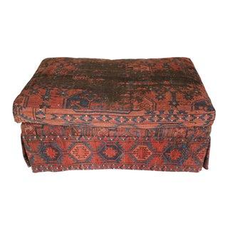Vintage Kilim Upholstered Ottoman