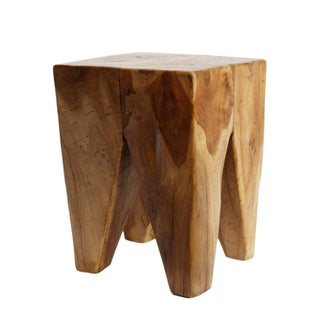 Waxed Teak Root Stool