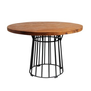 Round Teak and Iron Dining Table