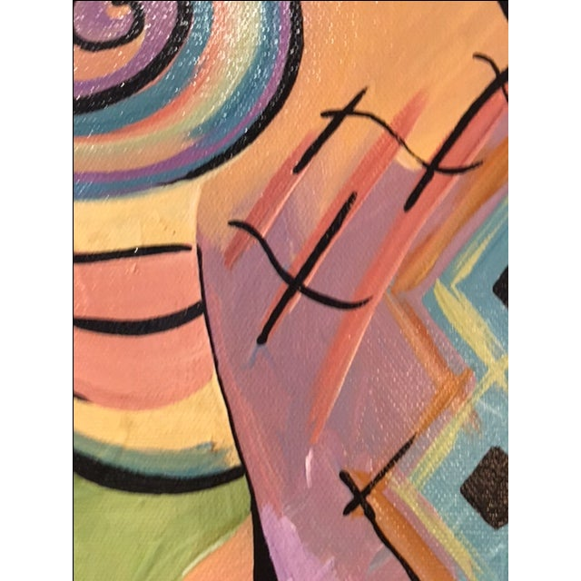 Colorful Abstract Figural Painting - Image 3 of 4