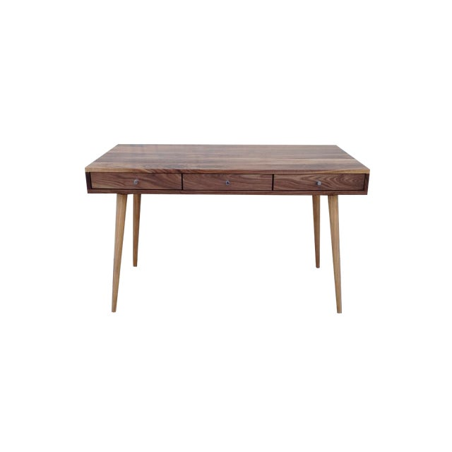 Image of Mid-Century Style Walnut Writing Desk