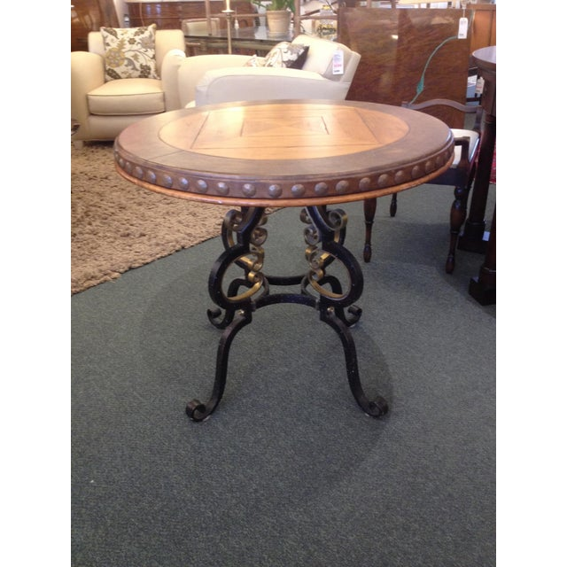 Henredon Highlands Leather Top Round End Table - Image 2 of 10