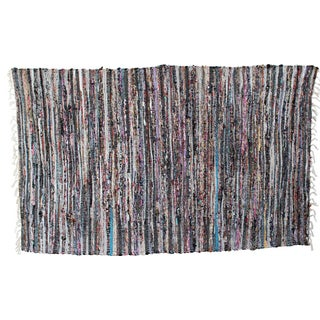 Striped Sari Rug - 3′4″ × 5′