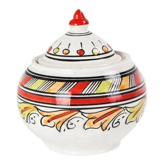 Sugar Bowl Painted in Red Leaves