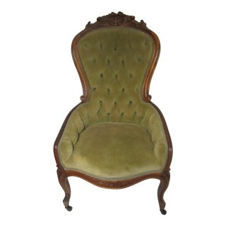 Victorian Chair With Green Velvet Upholstery