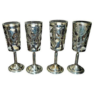Sterling Overlay Shot Glasses - S/4