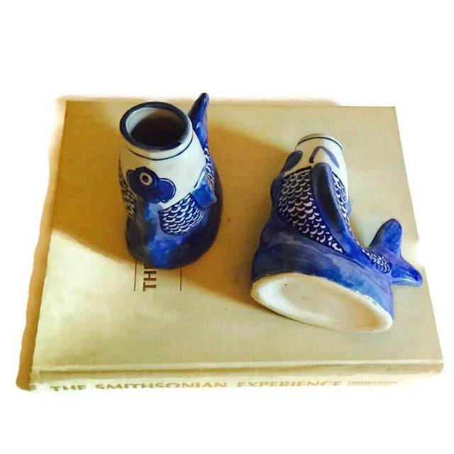Cobalt Blue Ceramic Koi Fish Bud Vases - Pair - Image 6 of 6