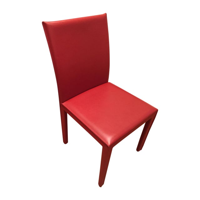 Red Leather Dining Chairs - Set of 10 - Image 1 of 8