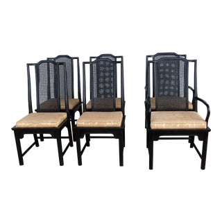 Chinoiserie Wood Dining Chairs - Set of 4
