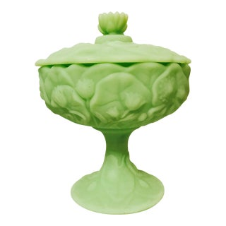 Fenton Custard Green Lily Pad Covered Candy Dish