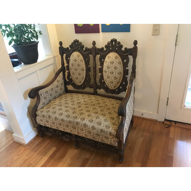 Image of Antique Scottish Carved Settee