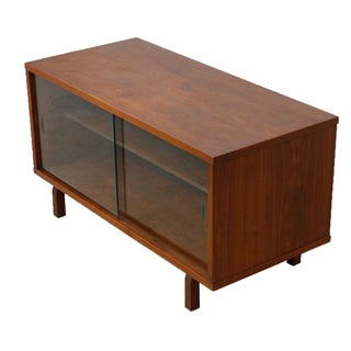 Mid-Century Modern Walnut Glass Door Cabinet
