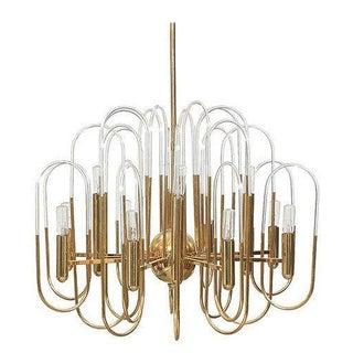 Sciolari Brass And Glass Chandelier