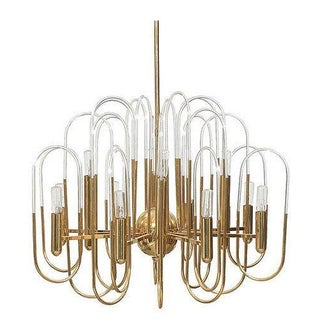 Sciolari Brass And Glass Chandelier