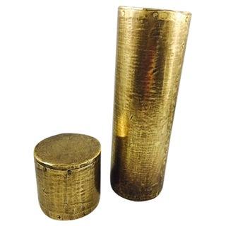Antique Brass Display Pillars - A Pair