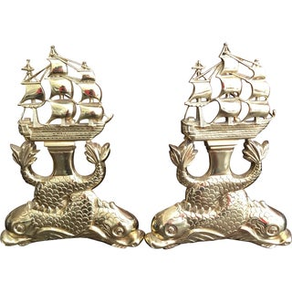 Nautical Brass Ship & Dolphin Andirons - A Pair