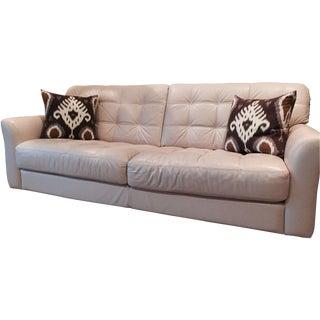 Tufted Cream Leather Sofa