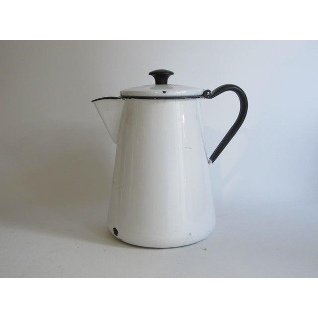 French White & Blue Enamel Coffee Pot - Image 3 of 6