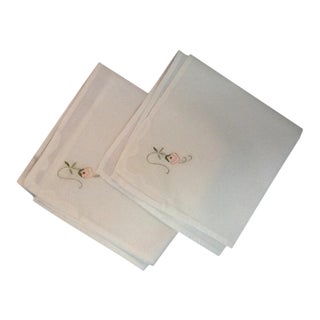 Vintage Linen Embroidered Napkins - Set of 6