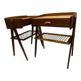 Teak & Cane Nightstands - A Pair