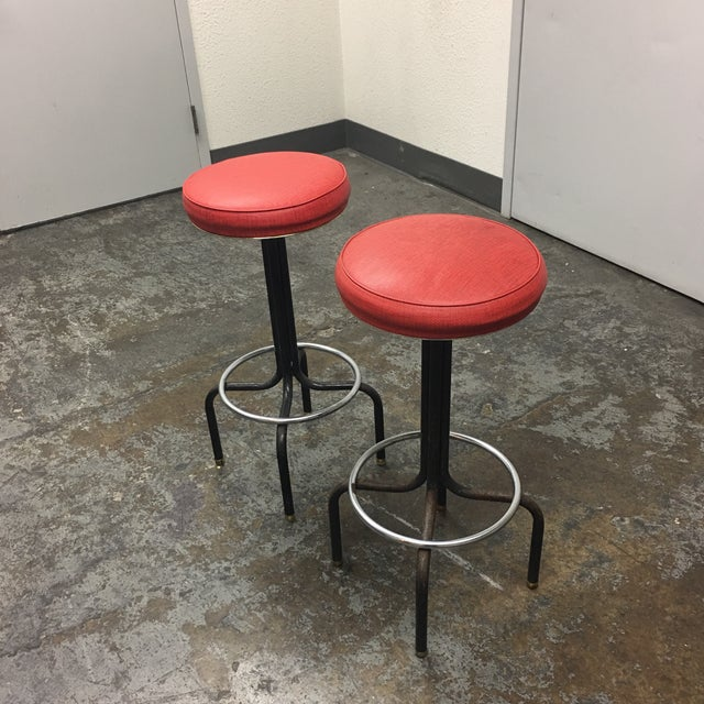 Vintage Red Barstools by Howells of St. Charles Illinois - A Pair - Image 3 of 8