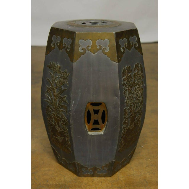 Chinese Pewter And Brass Drum Stools - Pair - Image 3 of 5