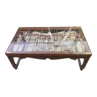 Vintage Chinoiserie Carved Teak Coffee Table