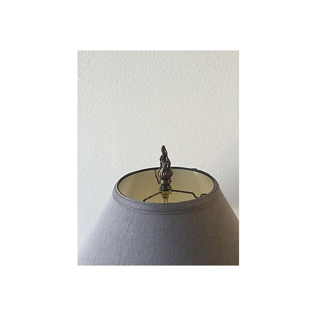 Antique Scrolled Metal Lamp with Silk Grey Shade - Image 3 of 5