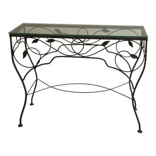 Small Wrought Iron Glass-Top Table