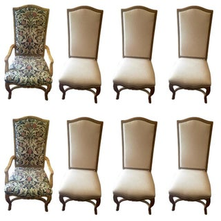 French Style Carved Wood Dining Chairs - Set of 8