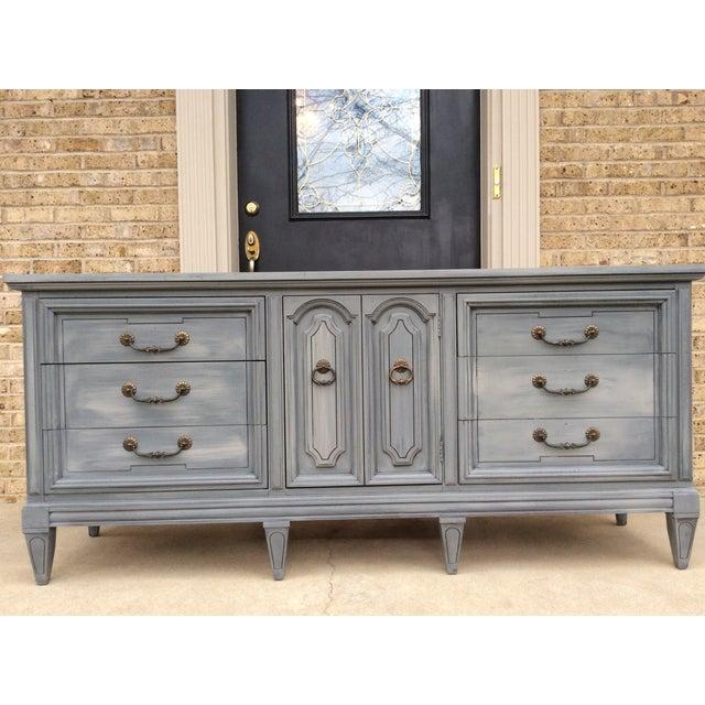 Vintage Distressed Gray Triple Dresser - Image 5 of 6