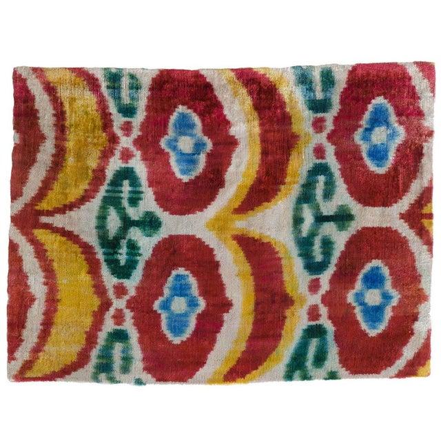Vintage Red Silk Velvet Ikat Pillow - Image 1 of 1