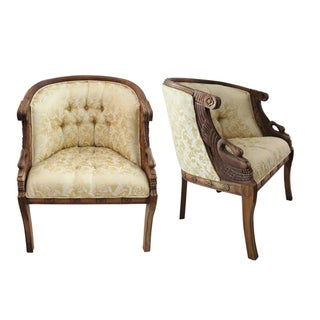 Mahogany Swan Carved Armchairs - A Pair