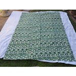 Image of Vintage Green Ikat Kantha Quilt Bed Cover