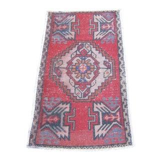 "Turkish Red Wool Pile Small Vintage Rug - 1'8"" x 3'1"""