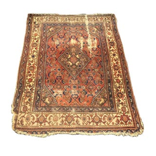 Antique Distressed Persian Rug / Wall Hanging - 4′4″ × 6′2″
