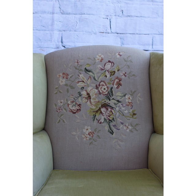 Huge Antique Velvet & Needlepoint Wingback Armchair - Image 7 of 11