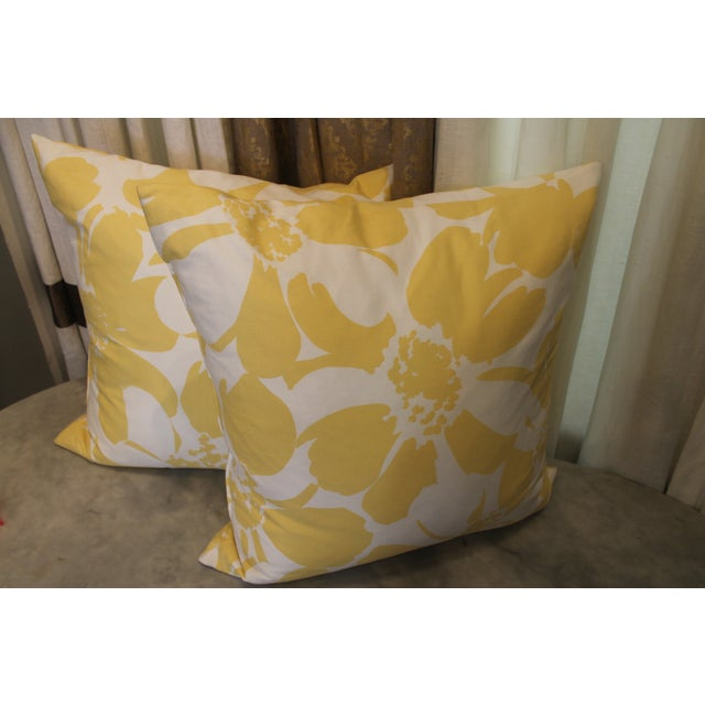 Custom Yellow & White Floral Pillows - A Pair - Image 3 of 4