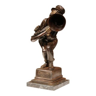 19th Century Italian Bronze Jazz Trumpet Player