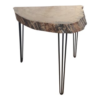 Reclaimed Wood Slab Demilune Table W/ Hairpin Legs