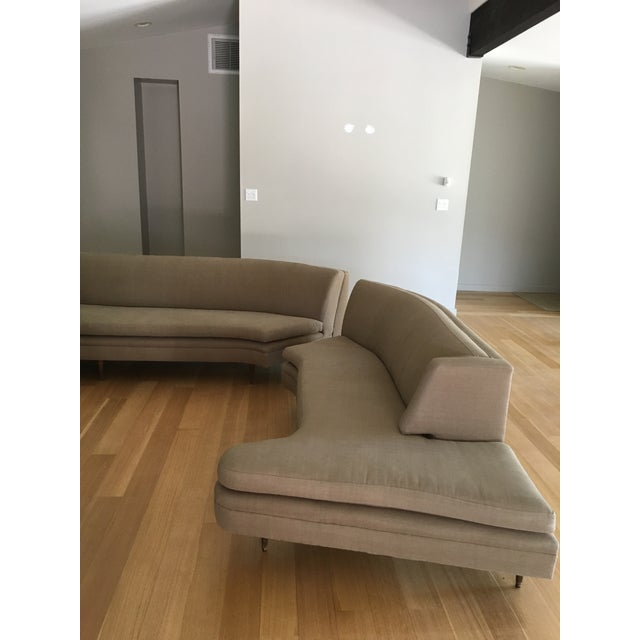 Mid-Century Linen Upholstered Two Piece Setional Sofa - Image 9 of 9