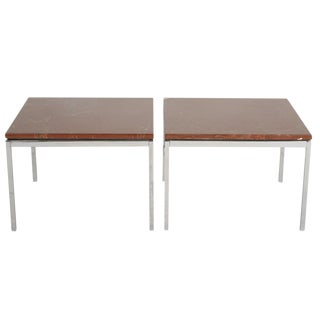 Florence Knoll Chromed Steel & Rojo Alicante End Tables - a Pair